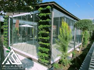 روف گاردن بام سبز پشت بام گل آرایی تزیین درخت درختچه آلاچیق آتریوم مدرن طراحی اجرا قیمت نانو الوند سیمین دشت کرج