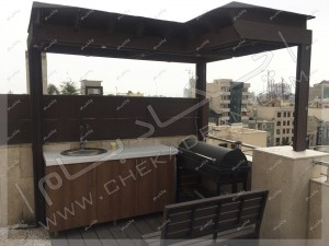 آشپزخانه و سینک و باربیکیو کباب پز روی پشت بام مجتمع مسکونی در پاسداران تهران