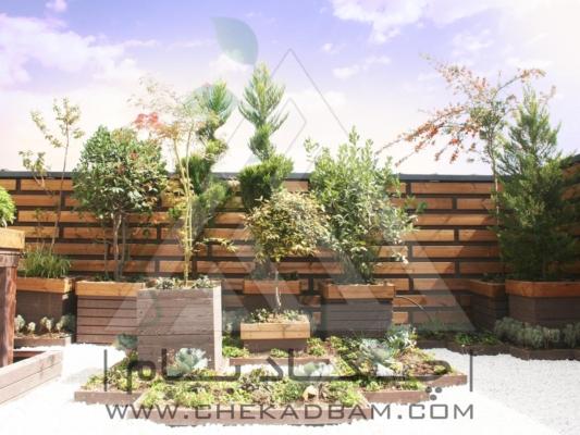 نمای دیوار سبز ترمووود درخت گلدان