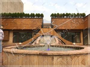 آبنما و فواره آب و درختچه کامیس پاریس روی پشت بام پروژه روف گاردن زعفرانیه تهرانش