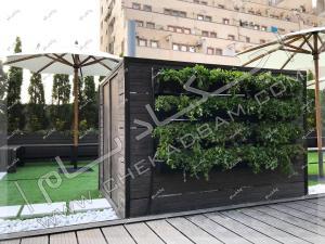 دیوار سبز مدولار و کف پوش و دیوار چوبی چمن مصنوعی روی پشت بام