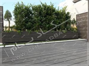 کفپوش چوبی روی پشت بام و گل و گیاه و فلاورباکس چوبی روی پشت بام روف گاردن سعادت آباد