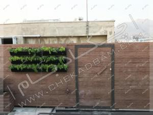 پوشش دیوار با چوب پلاستیک و فلاورباکس گلدان دیوار شهرک غرب شرکت آدورا طب