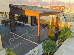 نمای بالا از آتریوم بر روی پشت بام سبز دیباجی تهران