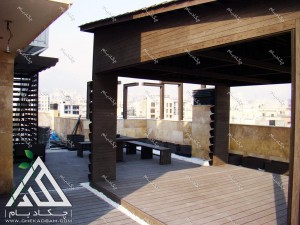 روف گاردن دیباجی جنوبی تهران آلاچیق چوبی مدرن