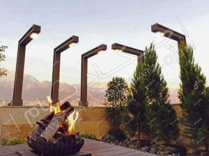 درخت کاج و سرو لاوسون درخت یاس هلندی و فستوکا در فلاورباکس و گلدان های پشت بام میز آتشدان