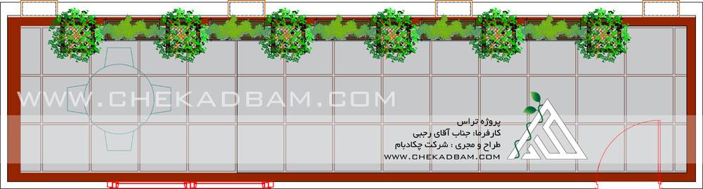پلان دو بعدی اتوکد طراحی و چیدمان تراس بالکن چیذر تهران