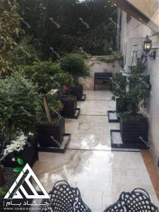 تزیین تراس کوچک چیذر تهران فلاورباکس چکاد بام گلدان سبز طراحی بالکن بعد از اجرا