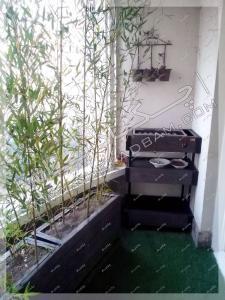 فلاورباکس چوبی گلدان مخصوص تراس نی خیزران و چمن مصنوعی تراس سبز الهیه