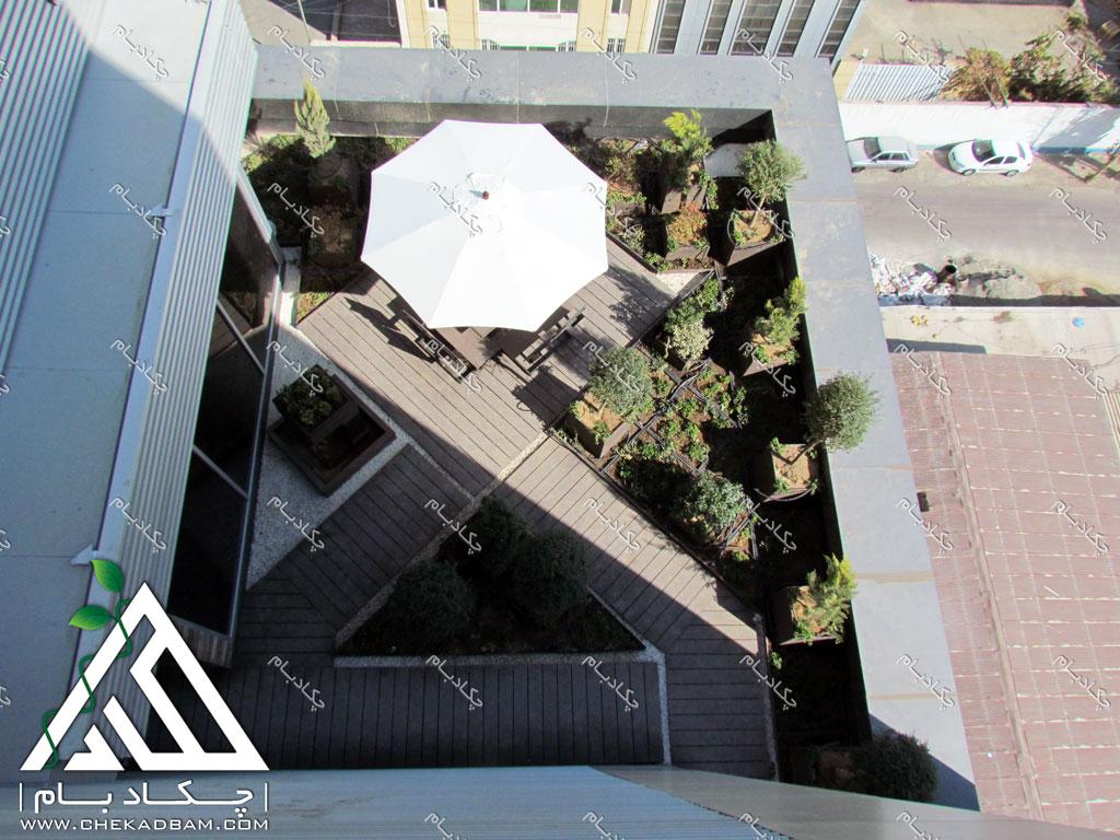 طراحی فضای سبز تراس بالکن کرج شرکت دارویی نانو الوند green terrace balcony