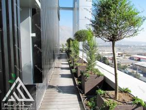 طراحی فضای سبز تراس کرج پس از اجرا شامل فلاورباکس گل درخت گلدان راهروی چوبی