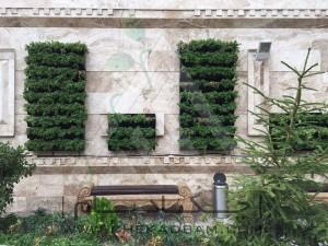 طراحی تراس تالار پذیرایی تهرانپارس چتر آفتابی دیوار سبز مدولار فلاورباکس آلاچیق