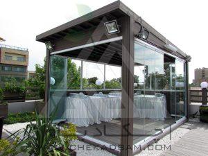 آتریوم آلاچیق شیشه ای فلزی چوبی ترموود چوب پلاست ارزان