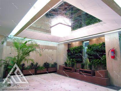 طراحی داخلی سبز لابی سبز دیوار سبز فلاورباکس گلدان گل کردلین پتوس یاس سانسوریا دراسنا فیتونیا حسن یوسف سیسوس