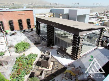 پروژه روف گاردن بام سبز شرکت نانو فناوران دارویی الوند کرج آلاچیق آتریوم فلاورباکس