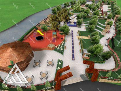 نمونه طراحی سه بعدی پروژه محوطه آرایی لند اسکیپ ایران کردستان بانه landscape project 3d design