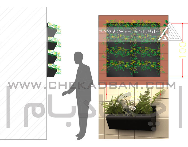 دیتیل دتایل اجرای دیوار سبز مدولار چکادبام modular green wall detail