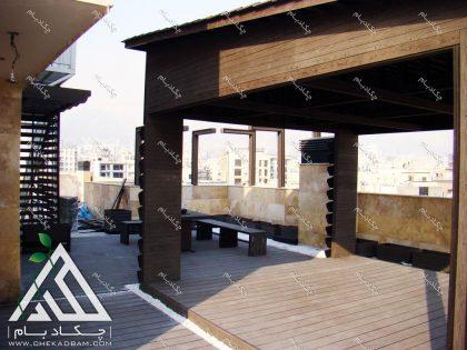 طراحی و اجرای روف گاردن فضای سبز پشت بام در تهران محله دیباجی جنوبی آلاچیق چوبی و چوب پلاست