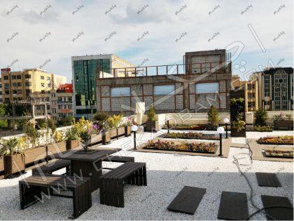 طراحی و اجرای روف گاردن در تبریز، بام سبز تبریز، پروژه فلاورباکس و گلدان و میز و نیمکت و باغچه روی پشت بام