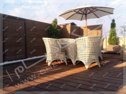 روف گاردن تهران شهرک غرب شرکت آدورا طب صندلی و آفتابگیر و باغچه روی پشت بام
