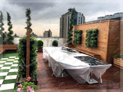 روف گاردن تمام ترمووود شامل دیوار سبز و فلاورباکس و کاشت گیاه روی پشت بام جردن تهران