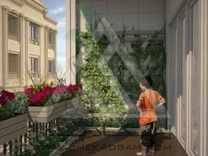 تراس سبز فلاورباکس گلدان تی باکس دیوار سبز کف چوب پلاست