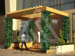 ورودی ترموود چوب پلاست دیوار سبز مدولار تری با کس فلاورباکس
