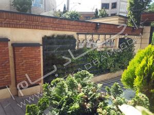 نمای دیوار سبز  green wall حیاط ترکیب با آجر پوشش دیوار با گیاه پاپیتال درون فلاورباکس های فلزی قیطریه قلندری تهران