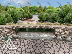 نمونه طراحی سه بعدی پروژه محوطه آرایی آبنما لند اسکیپ طراحی محوطه پارک 15 خرداد شهر بانه استان کردستان
