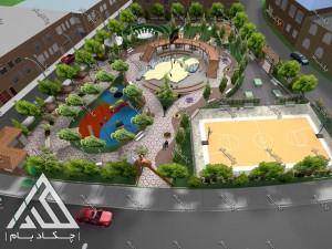 طراحی سه بعدی پروژه محوطه سازی پارک دانش آموز شهر بانه کردستان ایران  green landscape 3d design
