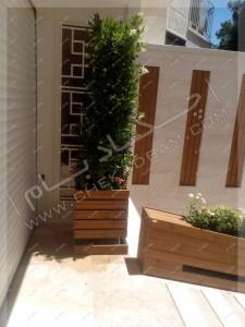 محوطه سازی پاسداران تهران گلدان چوبی ترمووود حیاط