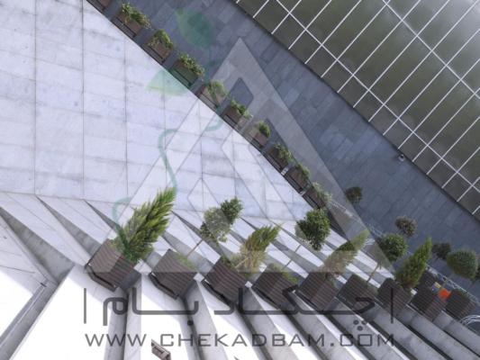 فلاورباکس تری باکس و چوب پلاست ارگ تجریش طراحی فضای سبز محوطه آرایی طراحی محوطه طراحی حیاط لابی محوطه سازی پلان محوطه باغ و ویلا