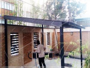 مراحل اجرا و ساخت آلاچیق چوبی فلزی چکادبام در حیاط