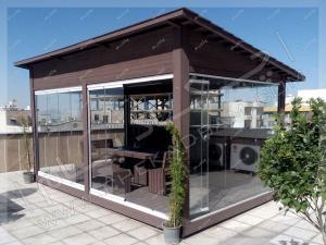 آلاچیق چوبی شیشه ای چکادبام پاسداران تهران