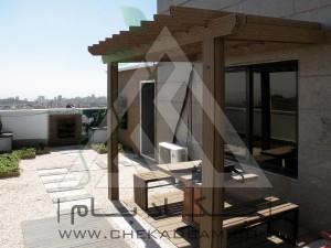 پرگولا چوبی آلاچیق فلزی روف گاردن چوب پلاست بام سبز رواق چوبی