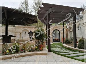 آلاچیق تک پایه و پرگولای چوب چوب پلاستیک قوسی حیاط مجتمع مسکونی شهرک غرب تهران
