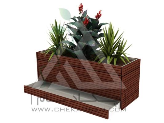 فلاورباکس چوب پلاست طرح کشودار