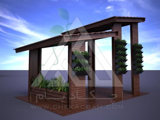 آلاچیق مدرن چوب پلاست طرح دو بهشت تیپ 2
