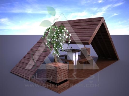 آلاچیق مدرن چوب پلاست طرح هشت بهشت تیپ 1