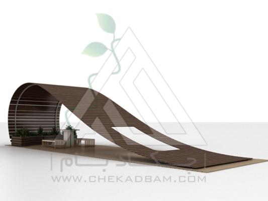 آلاچیق مدرن چوب پلاست طرح ابر و باد