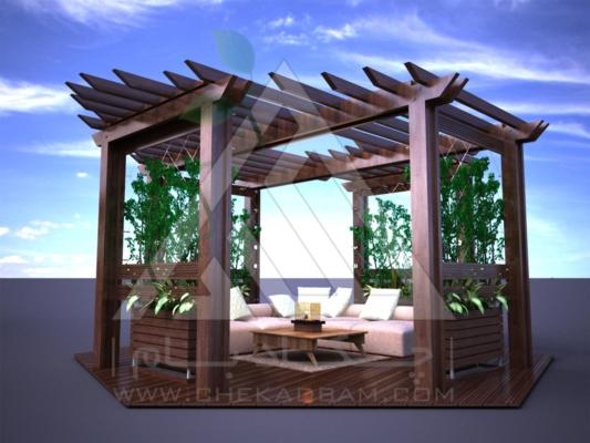 آلاچیق مدرن چوب پلاست طرح گلشن تیپ 1