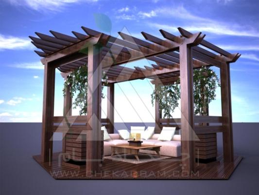 آلاچیق مدرن چوب پلاست طرح گلشن تیپ 2