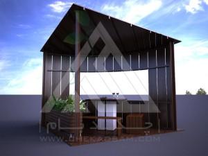 آلاچیق مدرن چوب پلاست طرح کنج تیپ 1