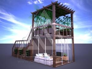 آلاچیق مدرن چوب پلاست طرح نردبان آسمان