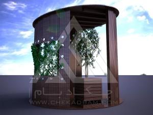 آلاچیق مدرن چوب پلاست طرح استوانه تیپ 3