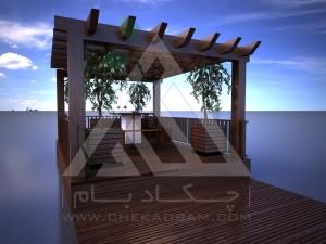 آلاچیق مدرن چوب پلاست طرح اوج