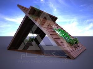 آلاچیق مدرن چوب پلاست طرح پنتا سبز تیپ 1