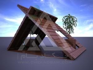 آلاچیق مدرن چوب پلاست طرح پنتا سبز تیپ 2