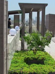 روف گاردن-بام سبز-مدولار-پرتابل-آلاچیق-وود پلاست-چوب پلاست-ترموود-پرگولا-میز-نیمکت-درختچه