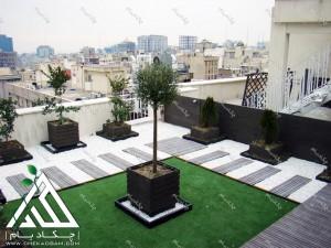 روف گاردن شرکت کالای پتروشیمی در تهران محدوده هفت تیر شن تزئینی سفید چمن مصنوعی فلاورباکس روی پشت بام